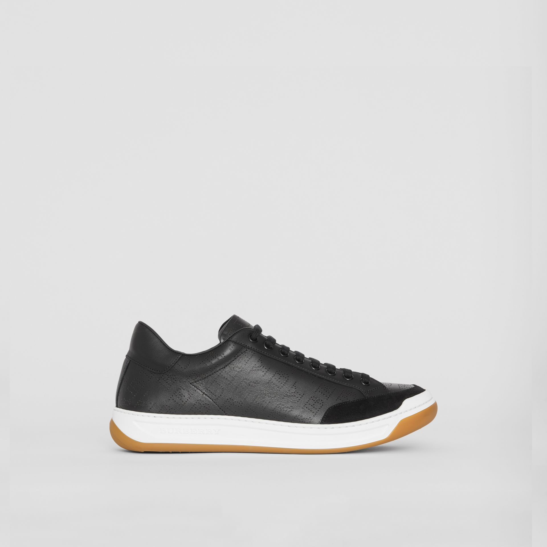 Logo Print Leather Sneakers in Black - Men | Burberry United Kingdom - gallery image 3