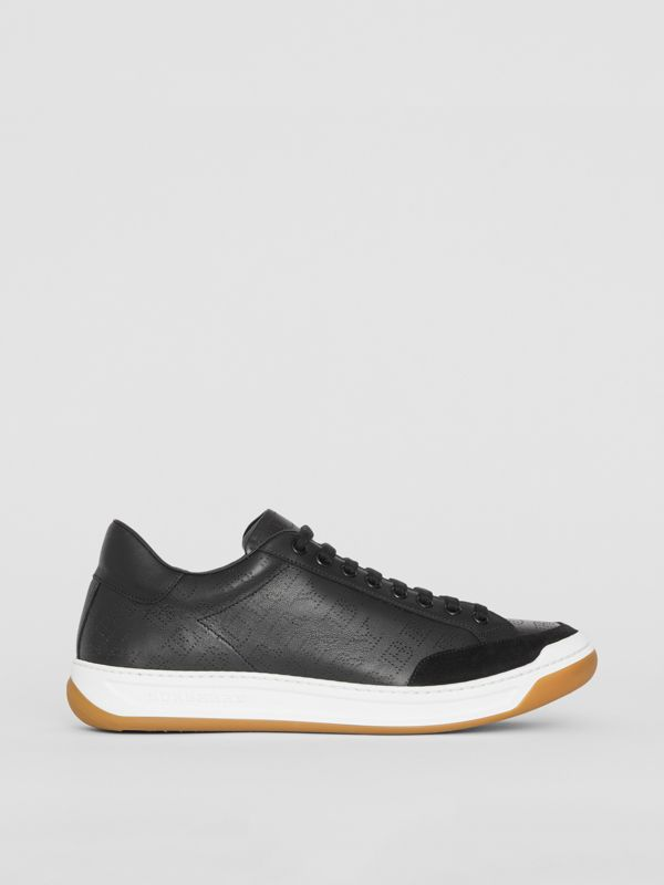 Logo Print Leather Sneakers in Black - Men | Burberry - cell image 3