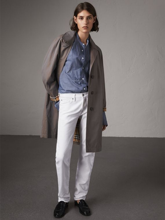 The Camden – Long Car Coat in Lilac Grey