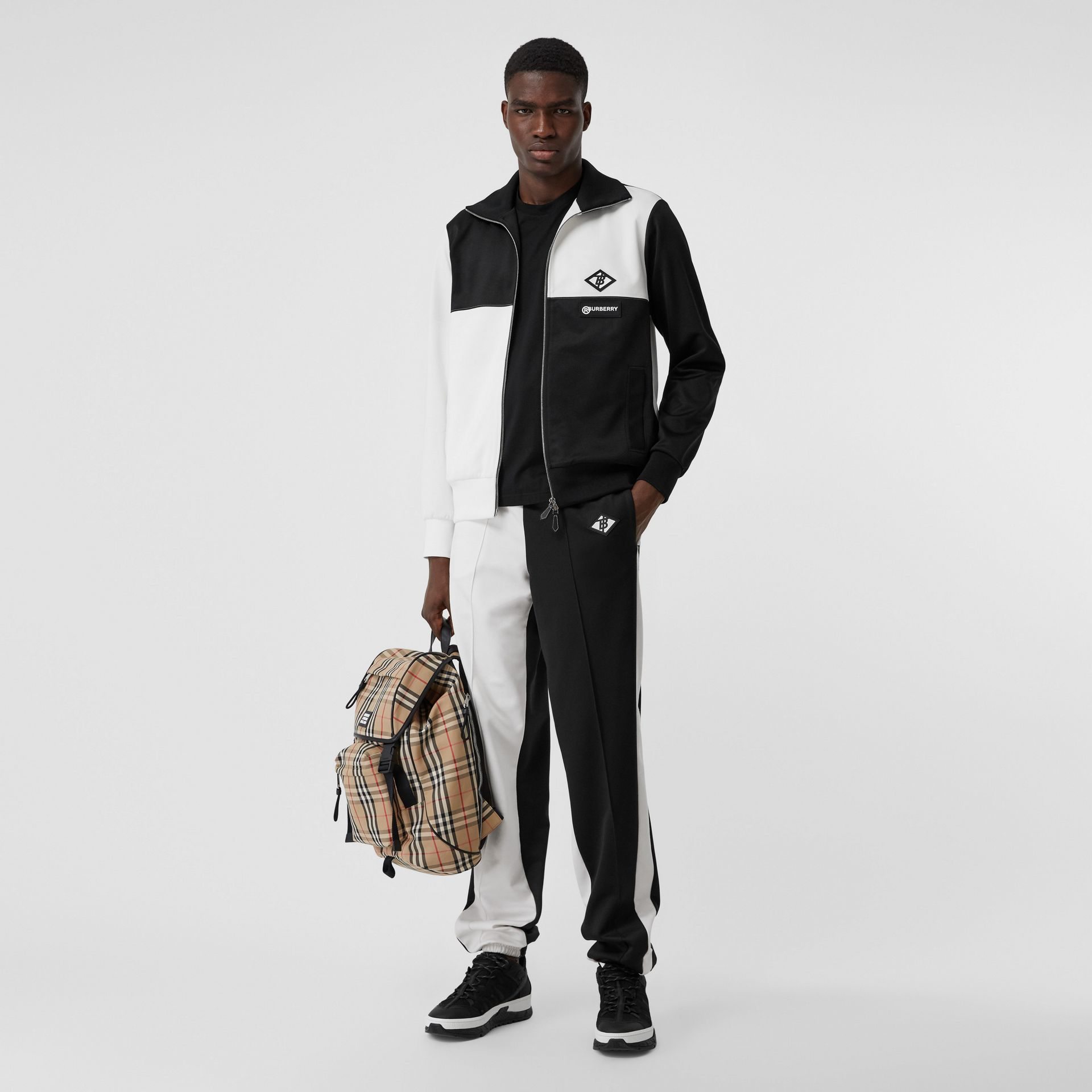 Logo Graphic Two-tone Jersey Track Top in Black - Men | Burberry - gallery image 0