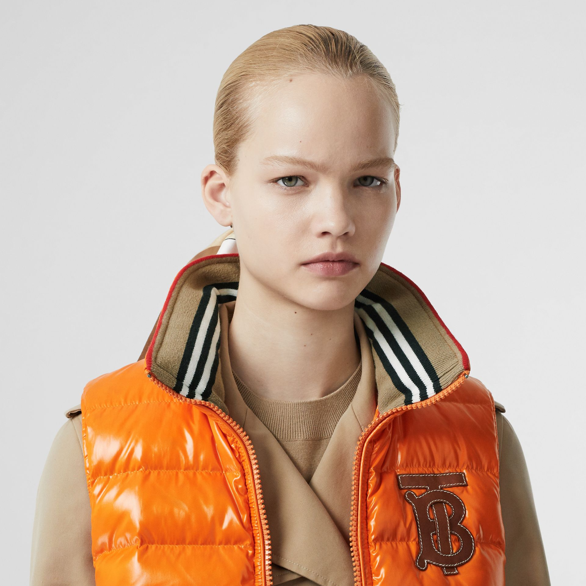 Icon Stripe Detail Down-filled Puffer Gilet in Orange - Women | Burberry - gallery image 7