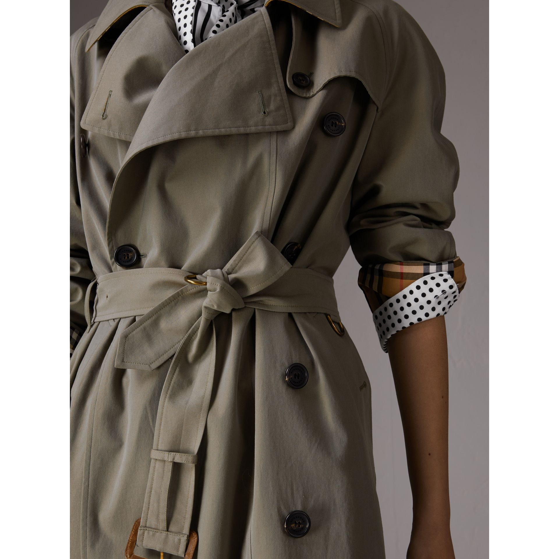 Tropical Gabardine Asymmetric Trench Coat in Chalk Green - Women | Burberry - gallery image 4