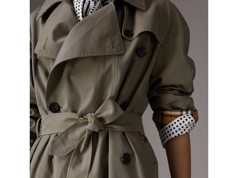 Tropical Gabardine Asymmetric Trench Coat in Chalk Green - Women | Burberry United Kingdom - cell image 4