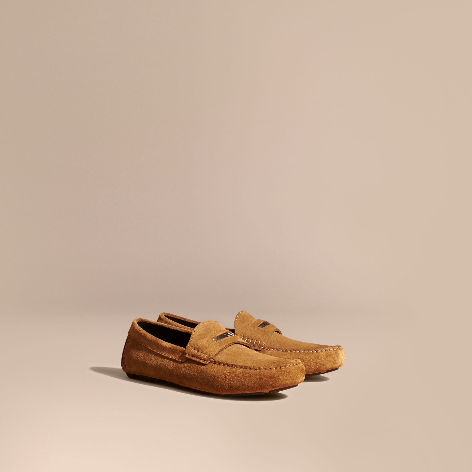 Caramel Suede Loafers with Engraved Check Detail Caramel - gallery image 1