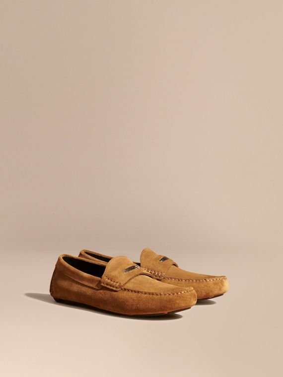 Suede Loafers with Engraved Check Detail Caramel