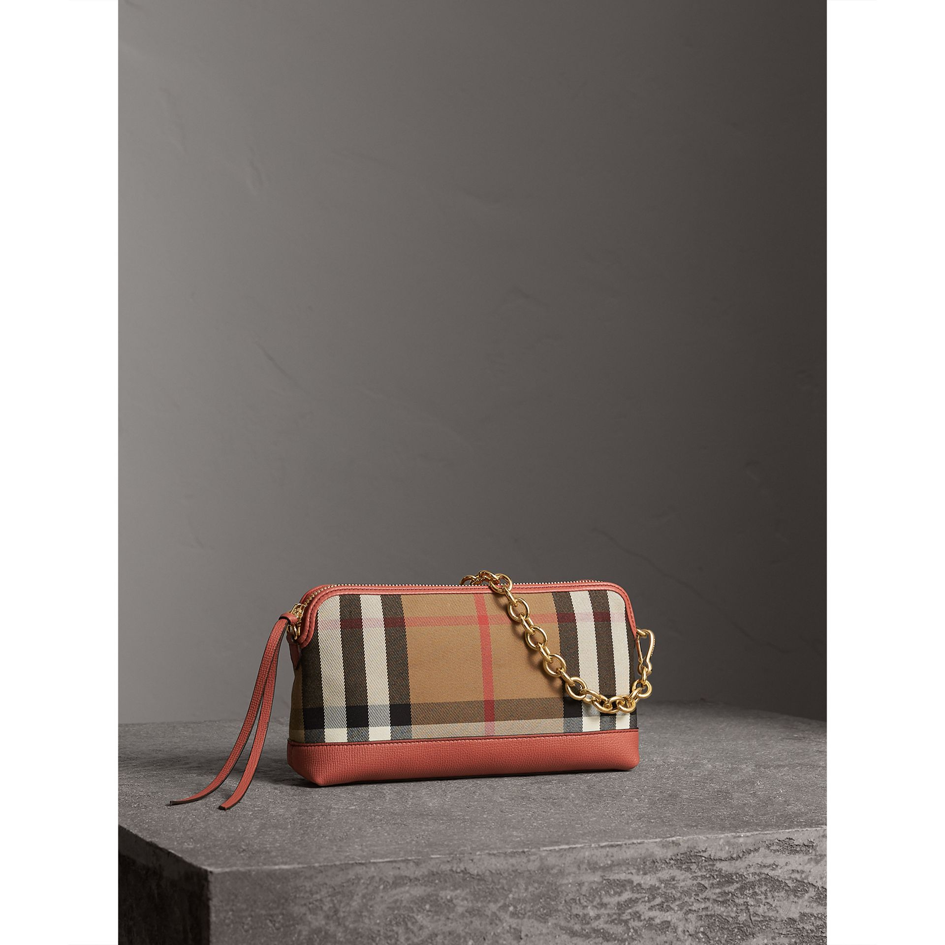 House Check and Leather Clutch Bag in Cinnamon Red - Women | Burberry Singapore - gallery image 8