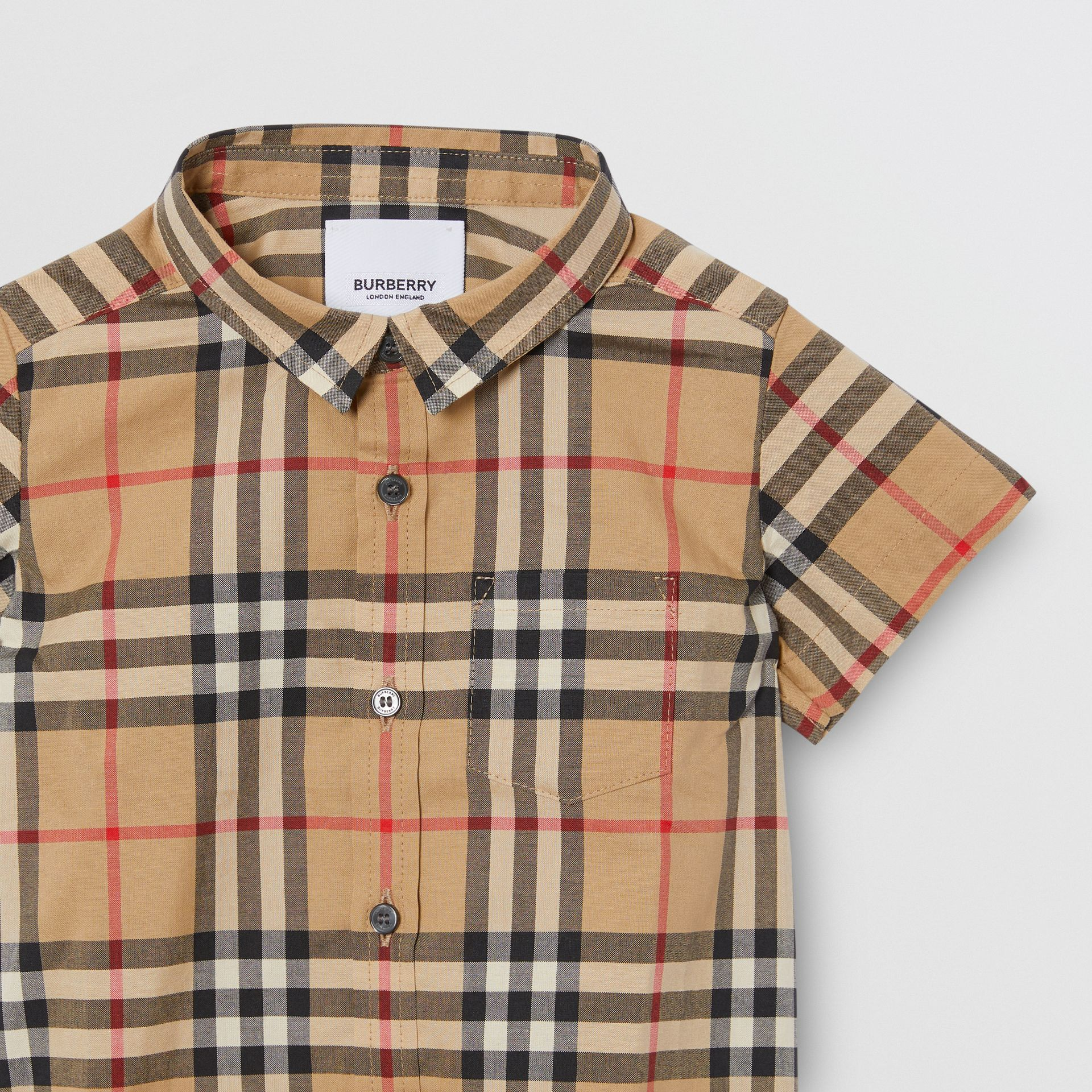 Short-sleeve Vintage Check Cotton Shirt in Archive Beige - Children | Burberry Australia - gallery image 4