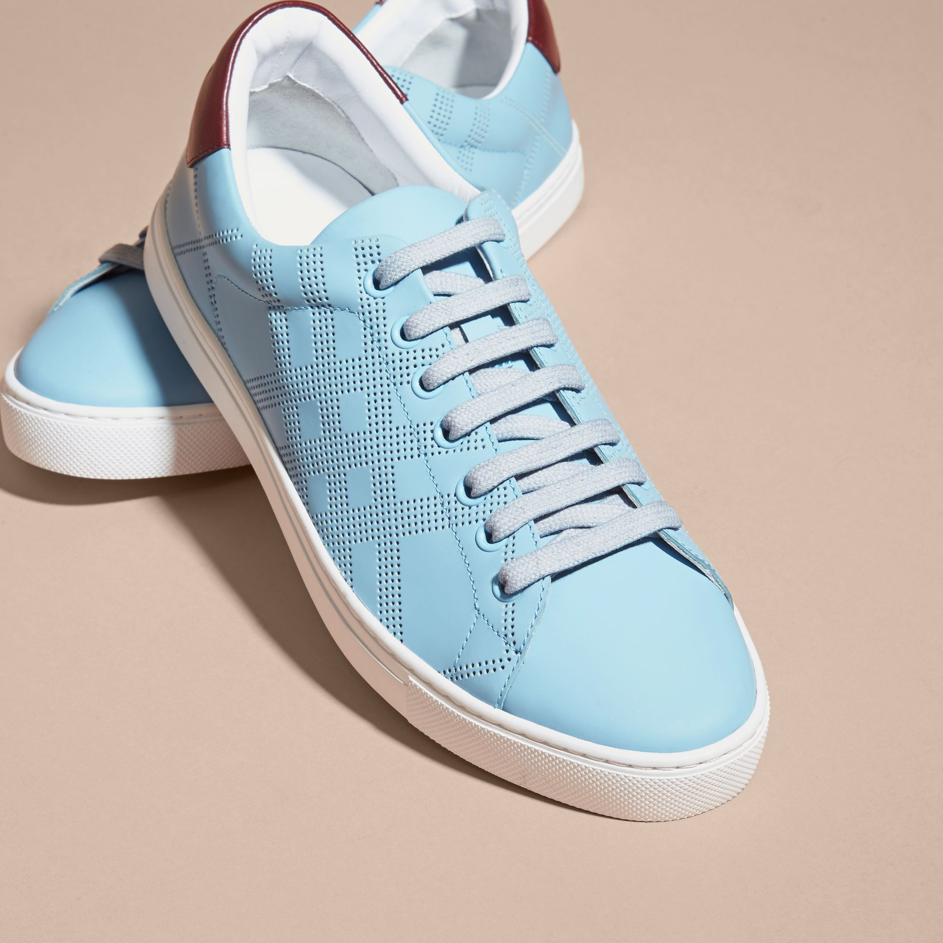 Perforated Check Leather Trainers Powder Blue/deep Claret Melange - gallery image 3