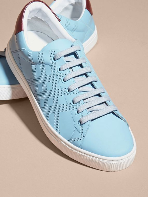 Powder blue/deep claret melange Perforated Check Leather Trainers Powder Blue/deep Claret Melange - cell image 2