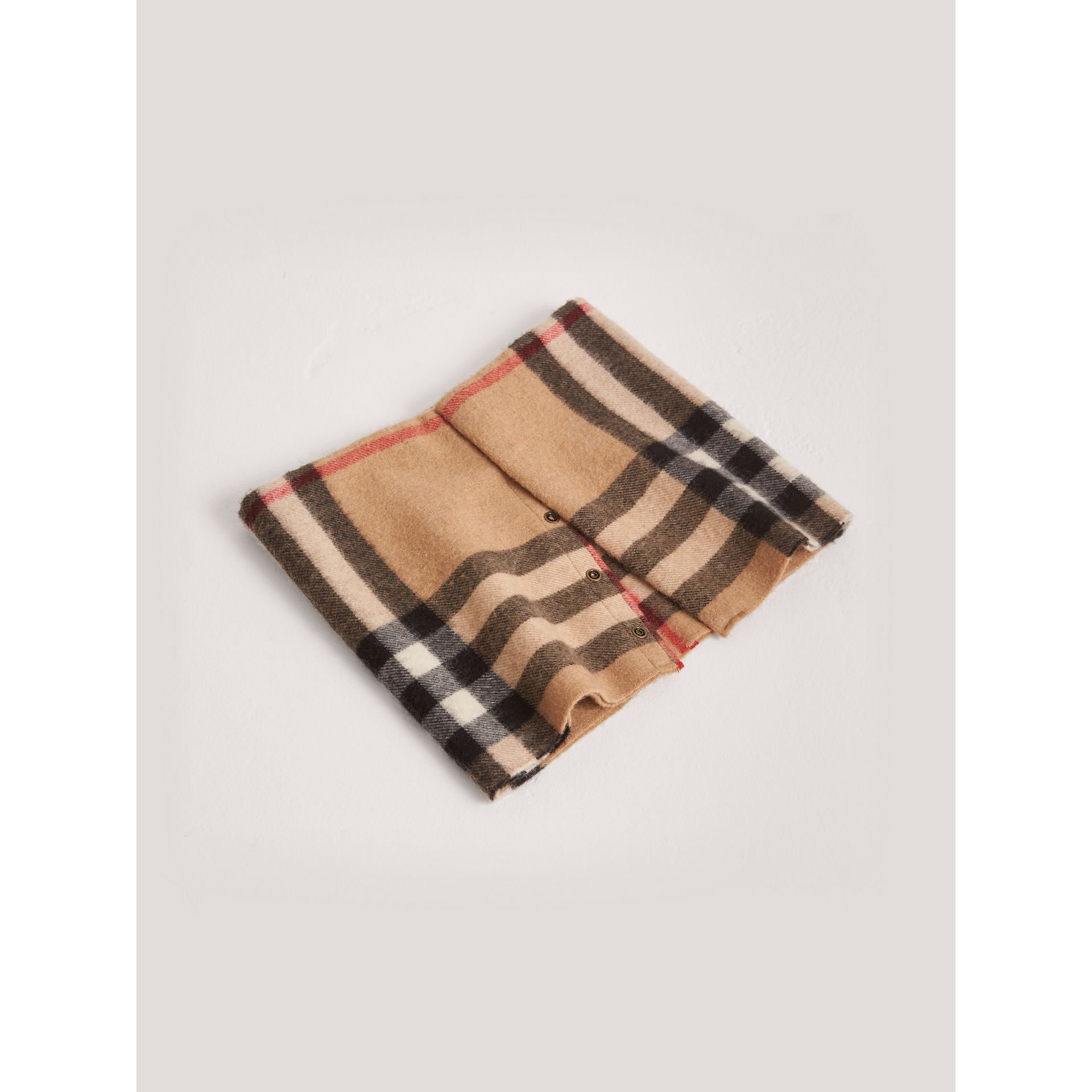 Exploded Check Cashmere Snood in Camel | Burberry - gallery image 0