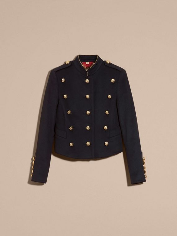 Navy Wool Cashmere Military Jacket with Internal Quilting - cell image 3