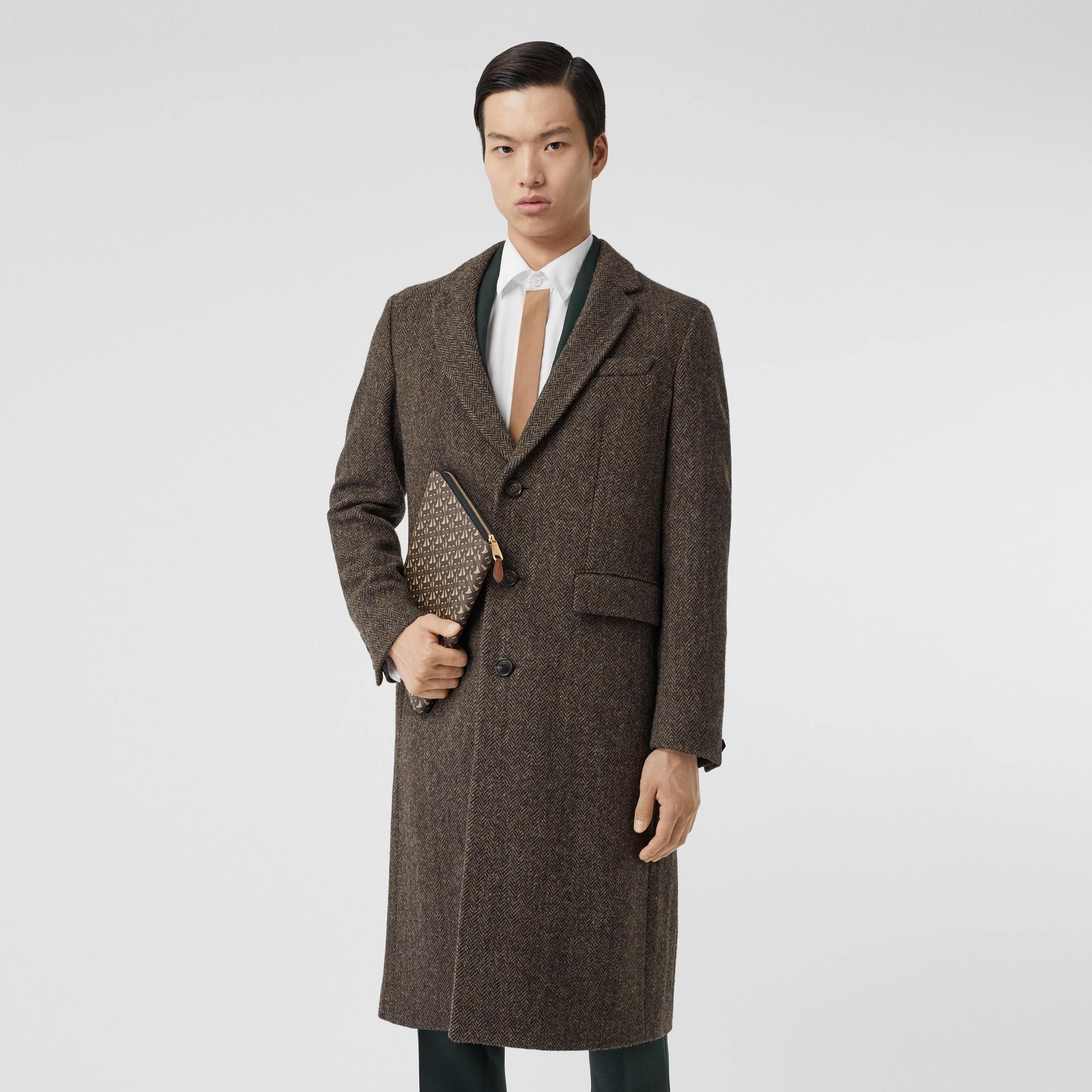 Herringbone Wool Tweed Coat in Brown - Men | Burberry Canada - gallery image 4