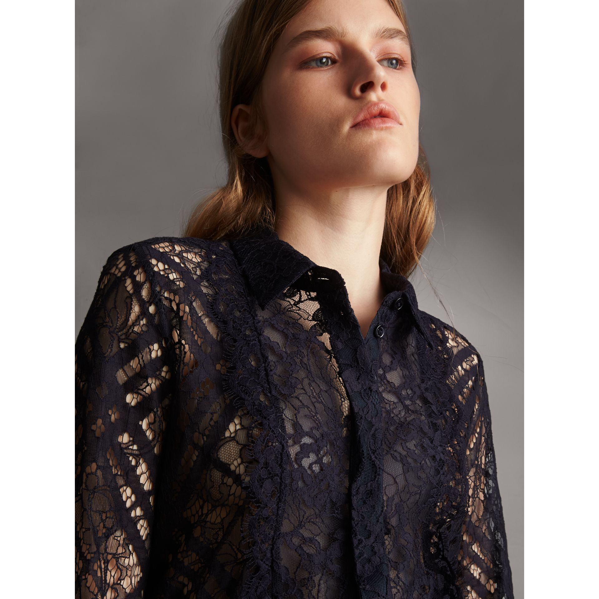 Scalloped Bib Check Lace Shirt - Women | Burberry - gallery image 5