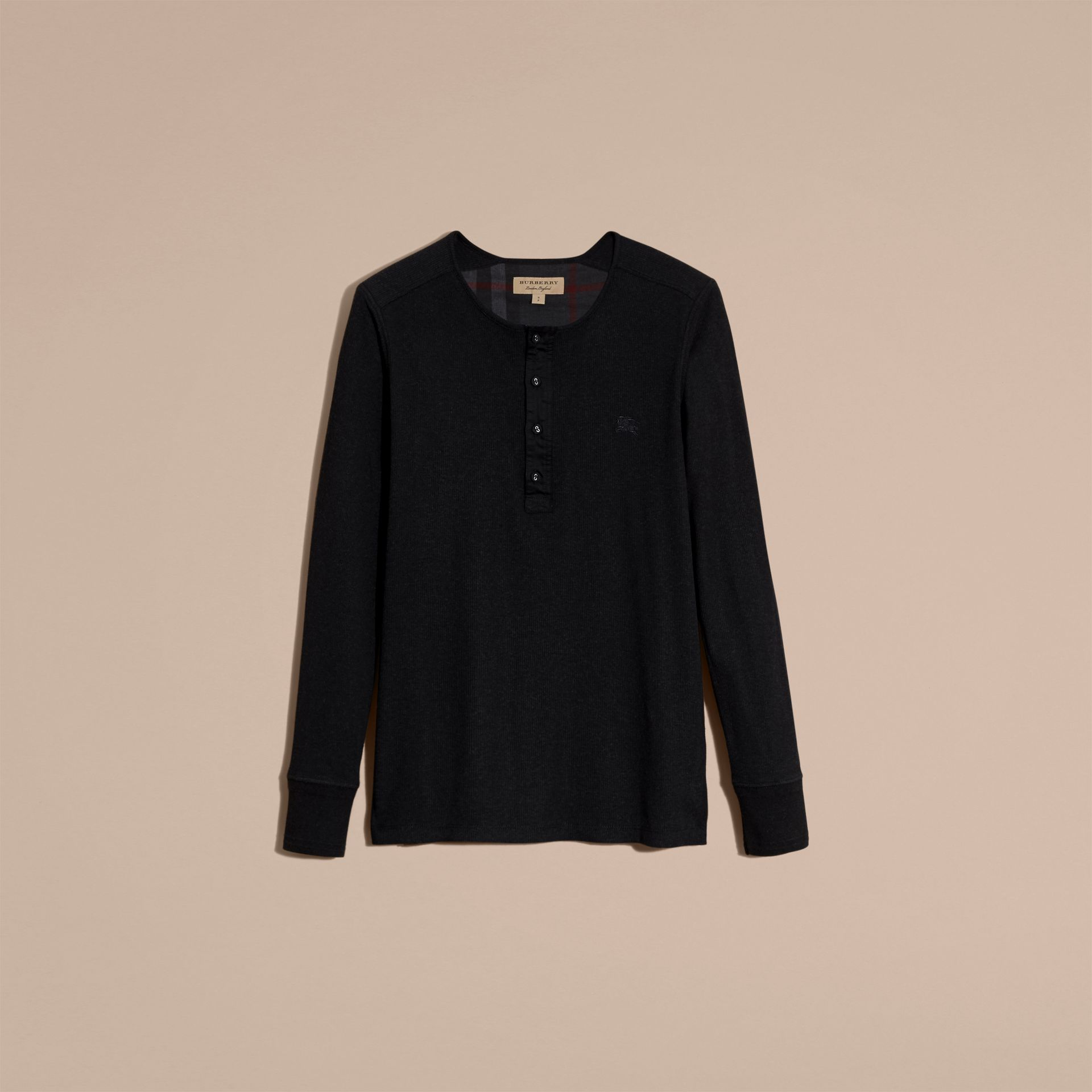 Black Ribbed Cotton Wool Henley Top Black - gallery image 4