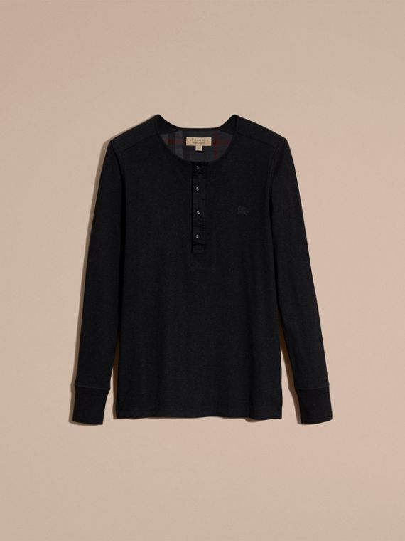 Black Ribbed Cotton Wool Henley Top Black - cell image 3