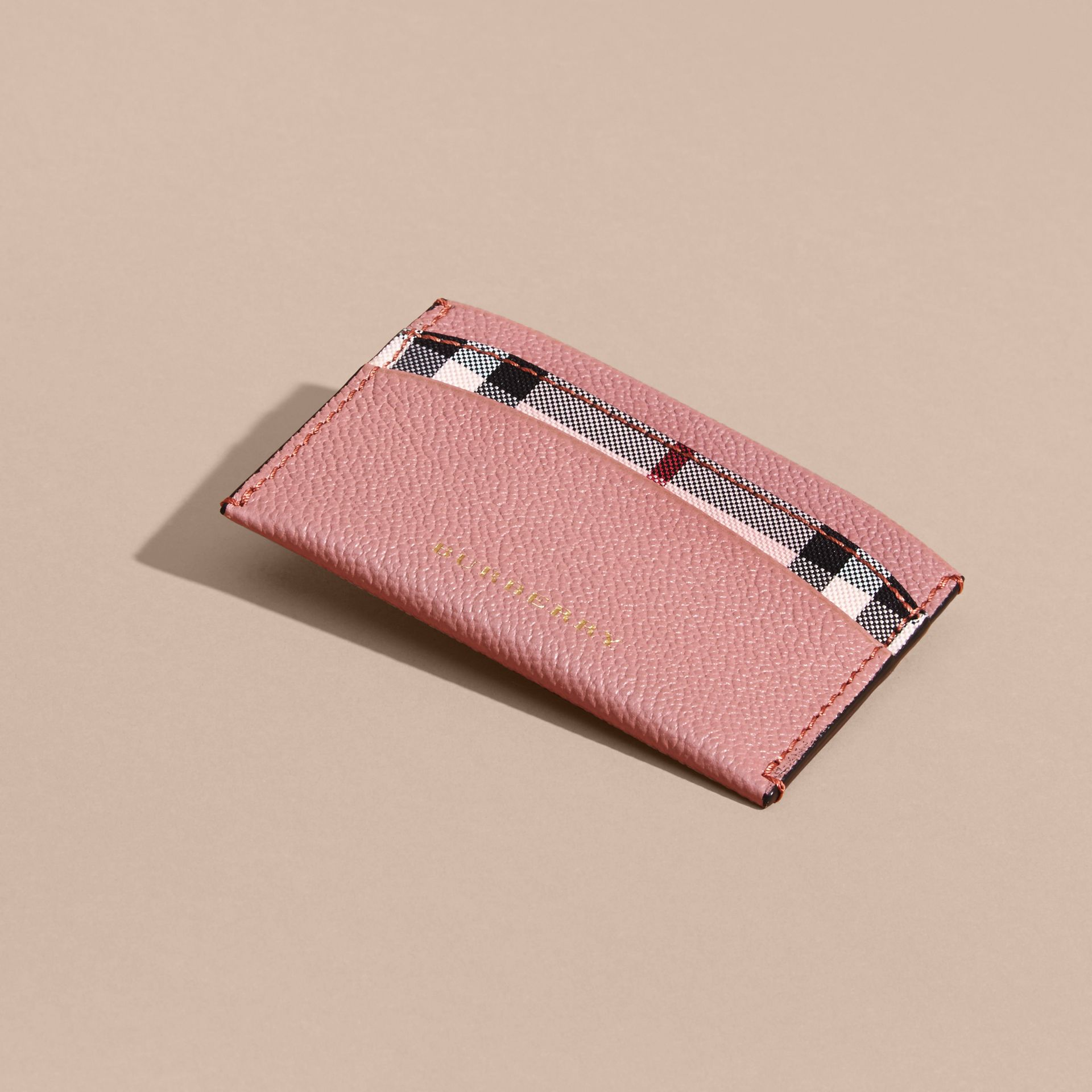 Check and Leather Card Case Ash Rose/ Dusty Pink - gallery image 3