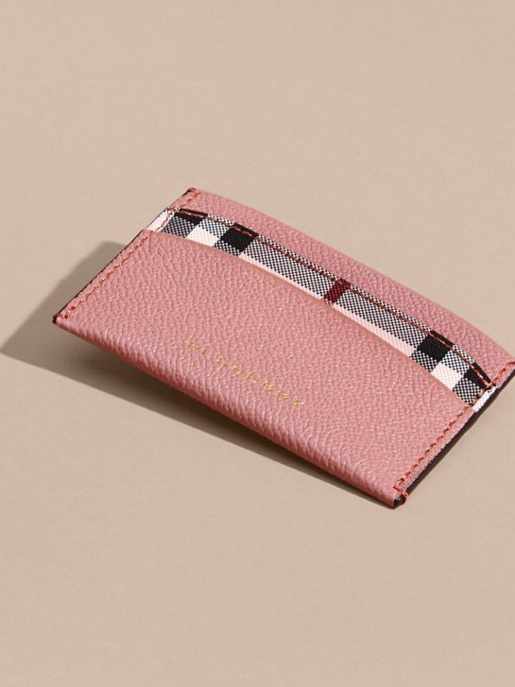 Check and Leather Card Case Ash Rose/ Dusty Pink - cell image 2