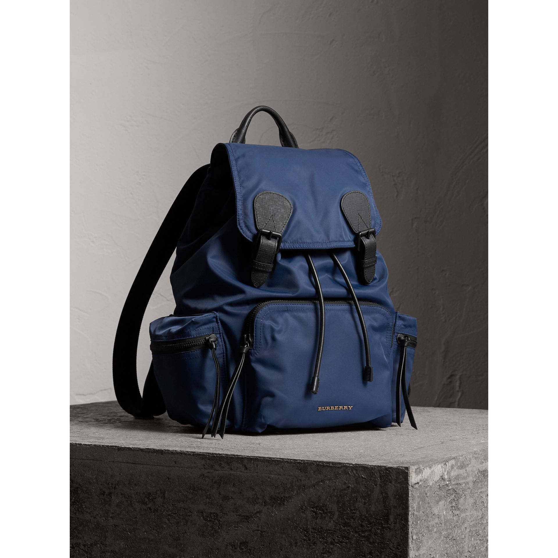 The Large Rucksack in Technical Nylon and Leather in Steel Blue | Burberry - gallery image 8