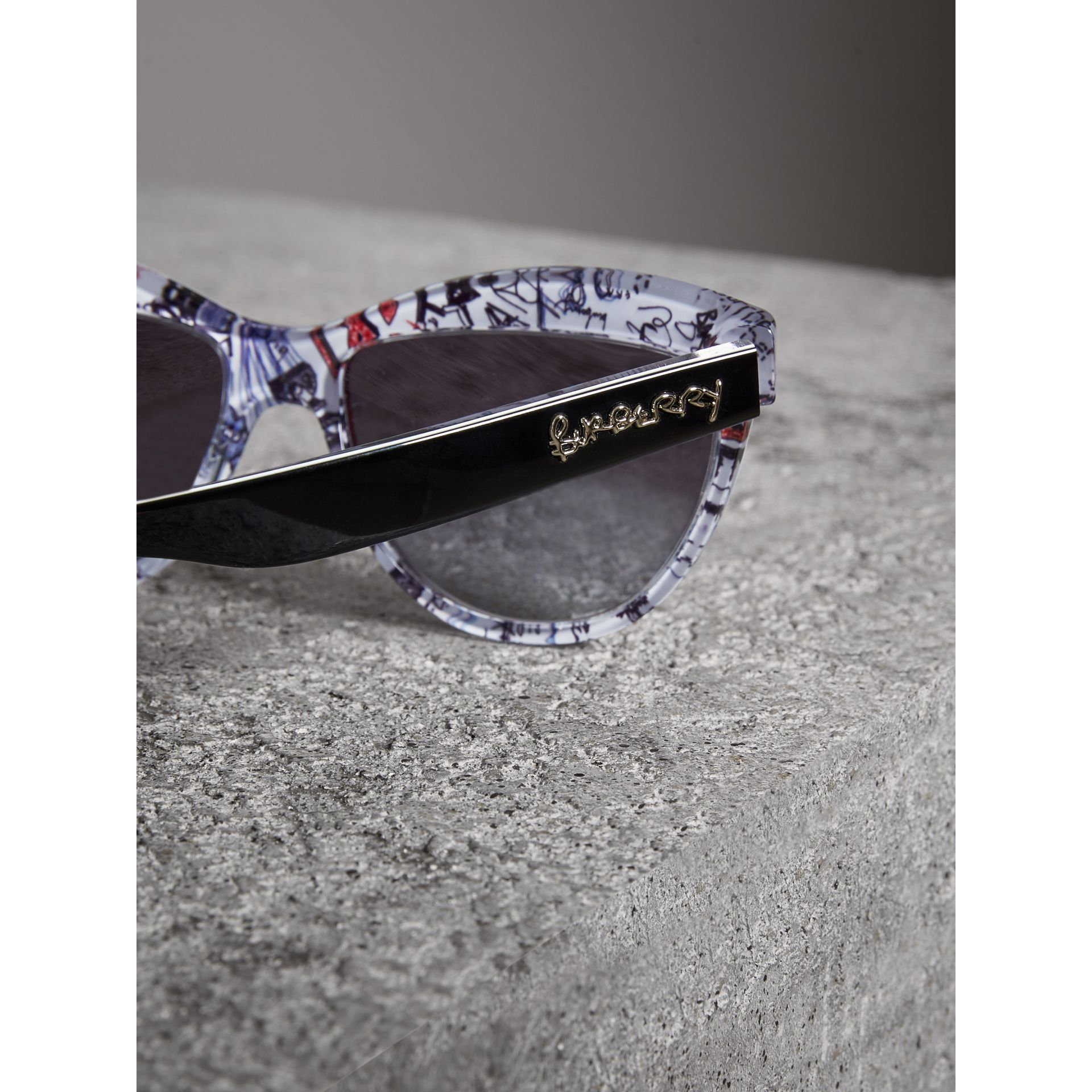 Doodle Cat-eye Frame Sunglasses in Black - Women | Burberry United Kingdom - gallery image 1