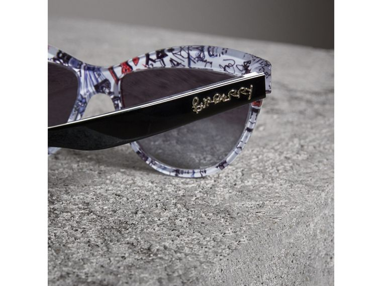Doodle Cat-eye Frame Sunglasses in Black - Women | Burberry Singapore - cell image 1
