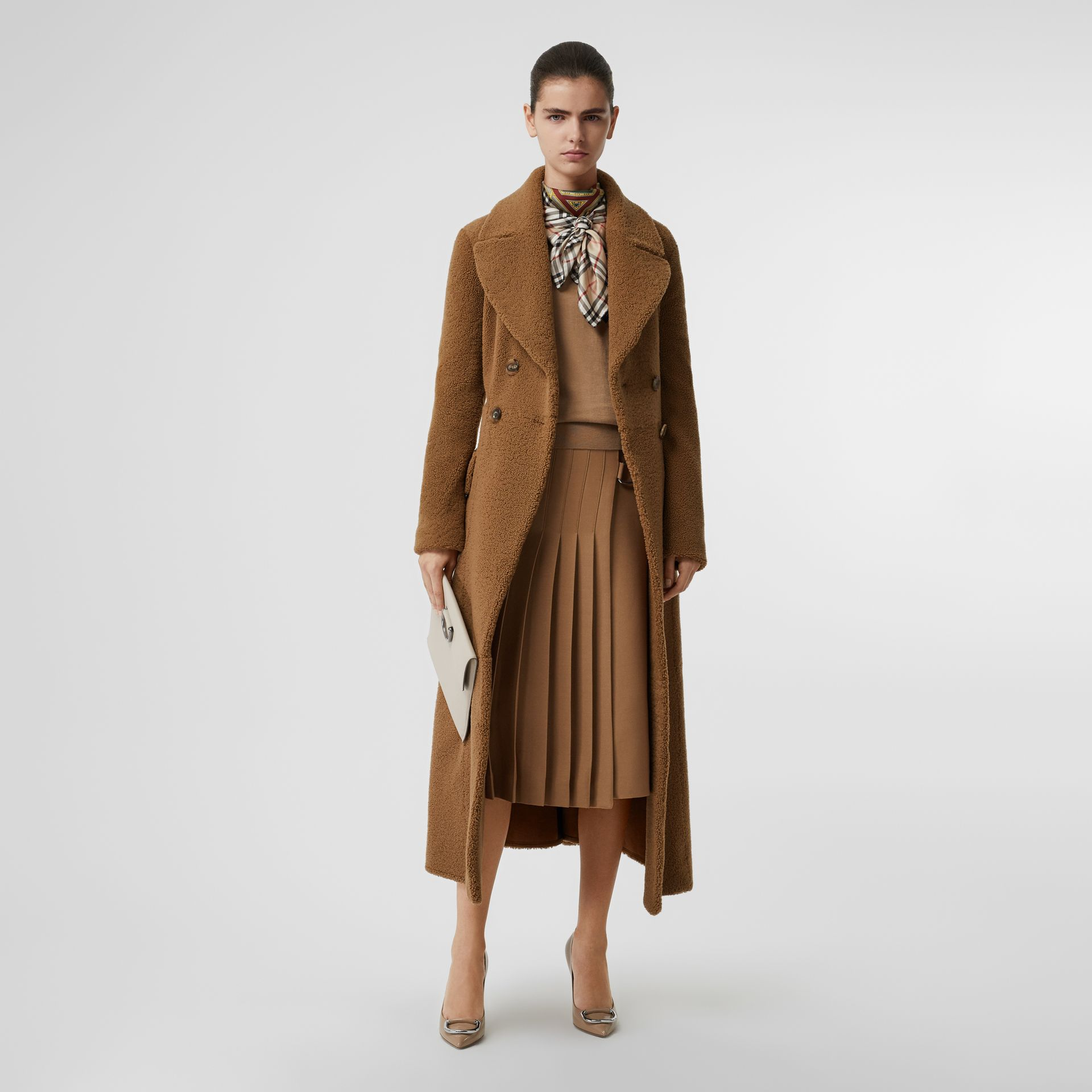 Shearling Tailored Coat in Caramel - Women | Burberry - gallery image 0