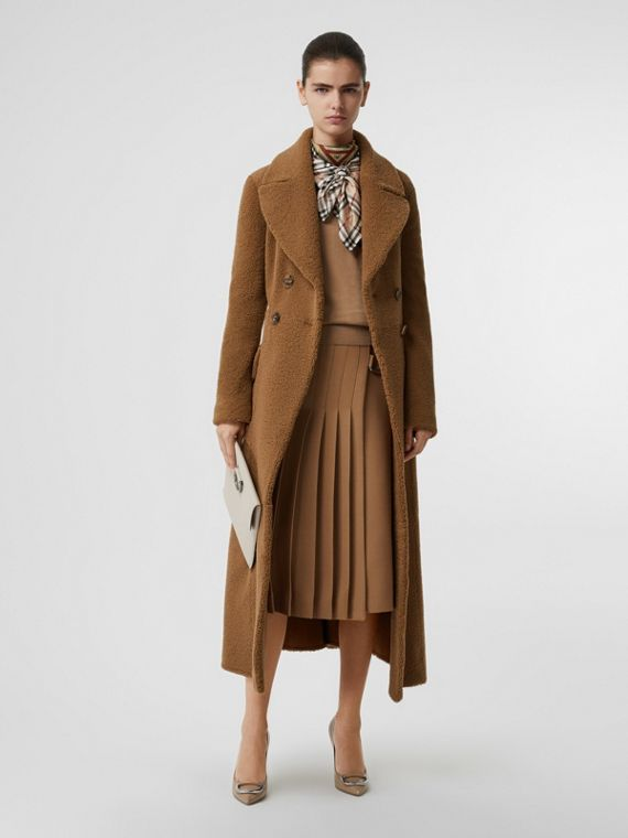 Shearling Tailored Coat in Caramel