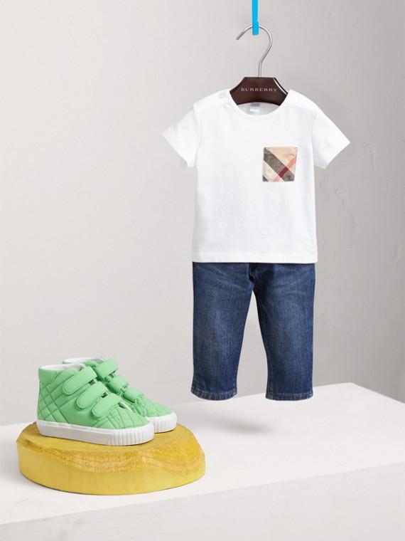 格紋口袋棉質 T 恤 (白色)
