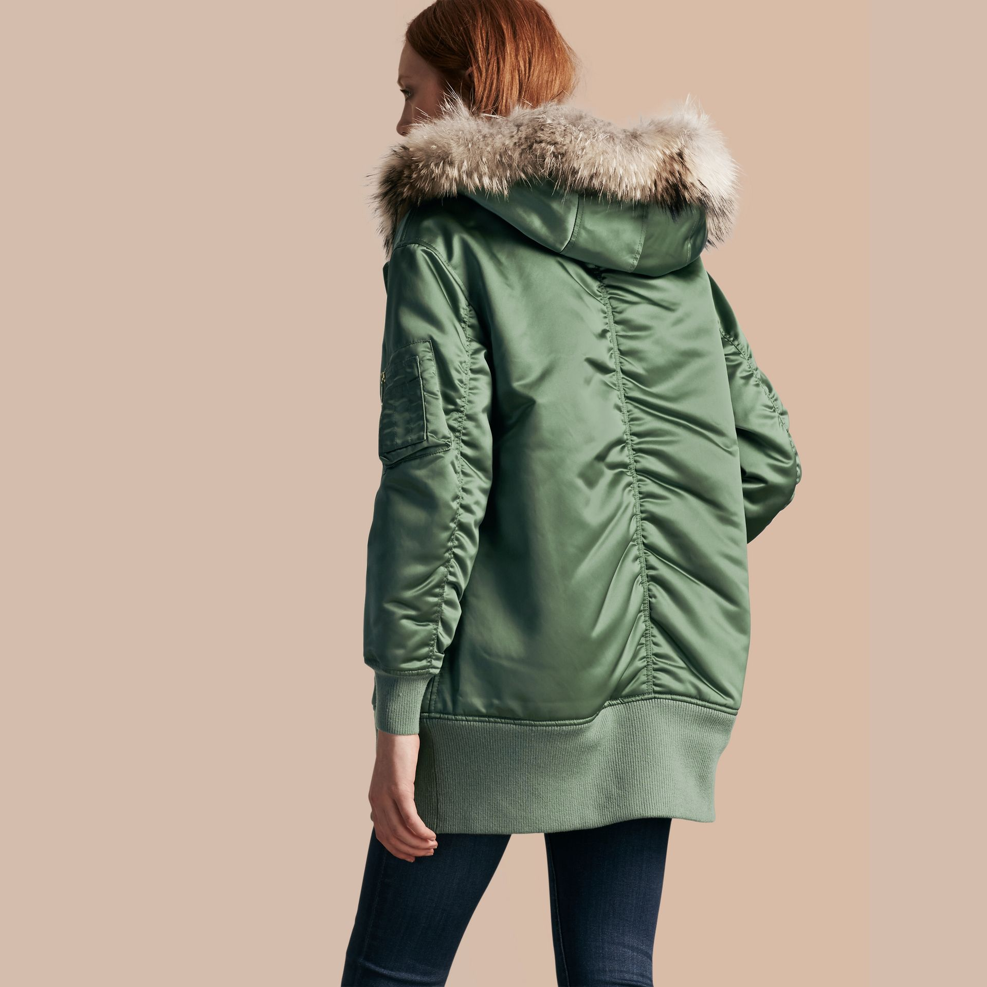 Eucalyptus green Long-line Satin Bomber Jacket with Fur-trimmed Hood Eucalyptus Green - gallery image 3