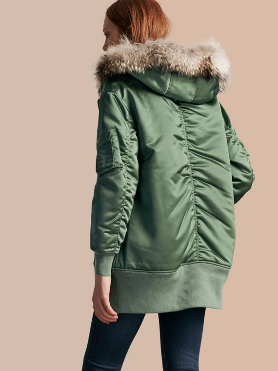 Eucalyptus green Long-line Satin Bomber Jacket with Fur-trimmed Hood Eucalyptus Green - cell image 2