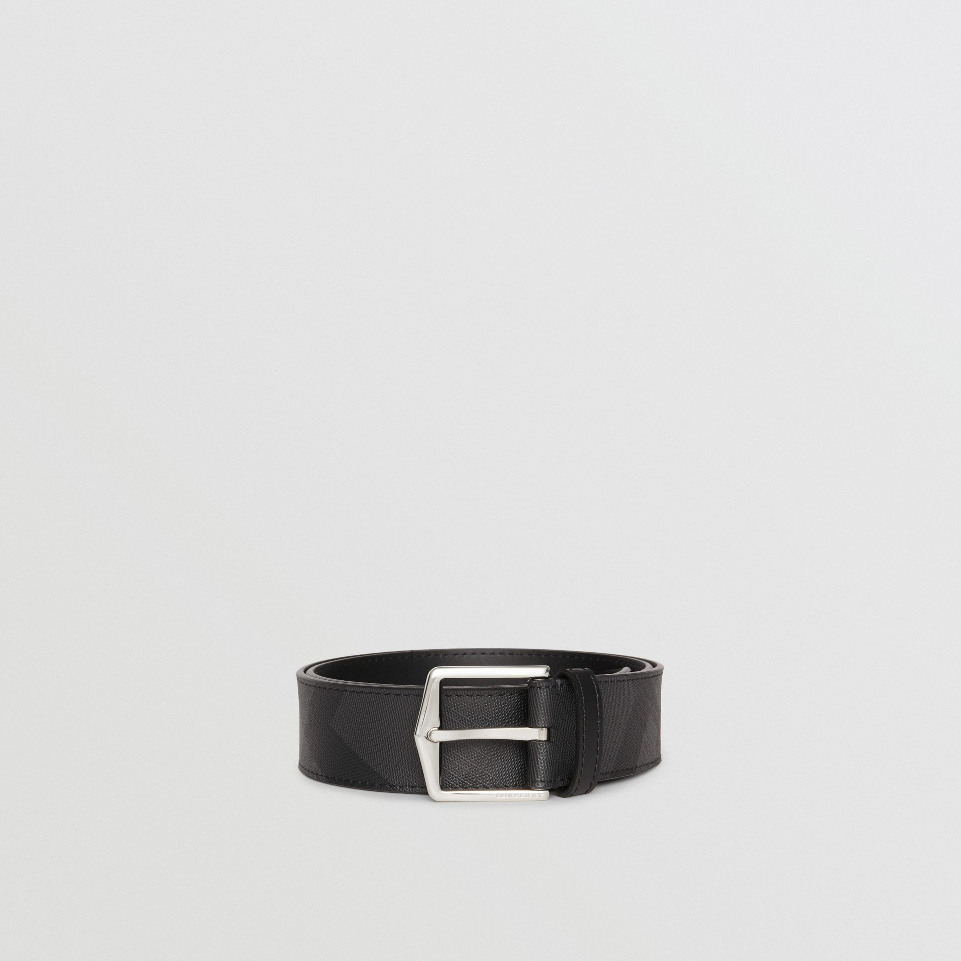 Leather Trim London Check Belt in Charcoal/black - Men | Burberry United Kingdom - gallery image 3
