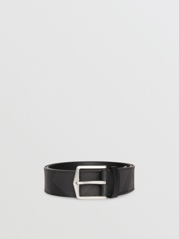 Leather Trim London Check Belt in Charcoal/black - Men | Burberry - cell image 3