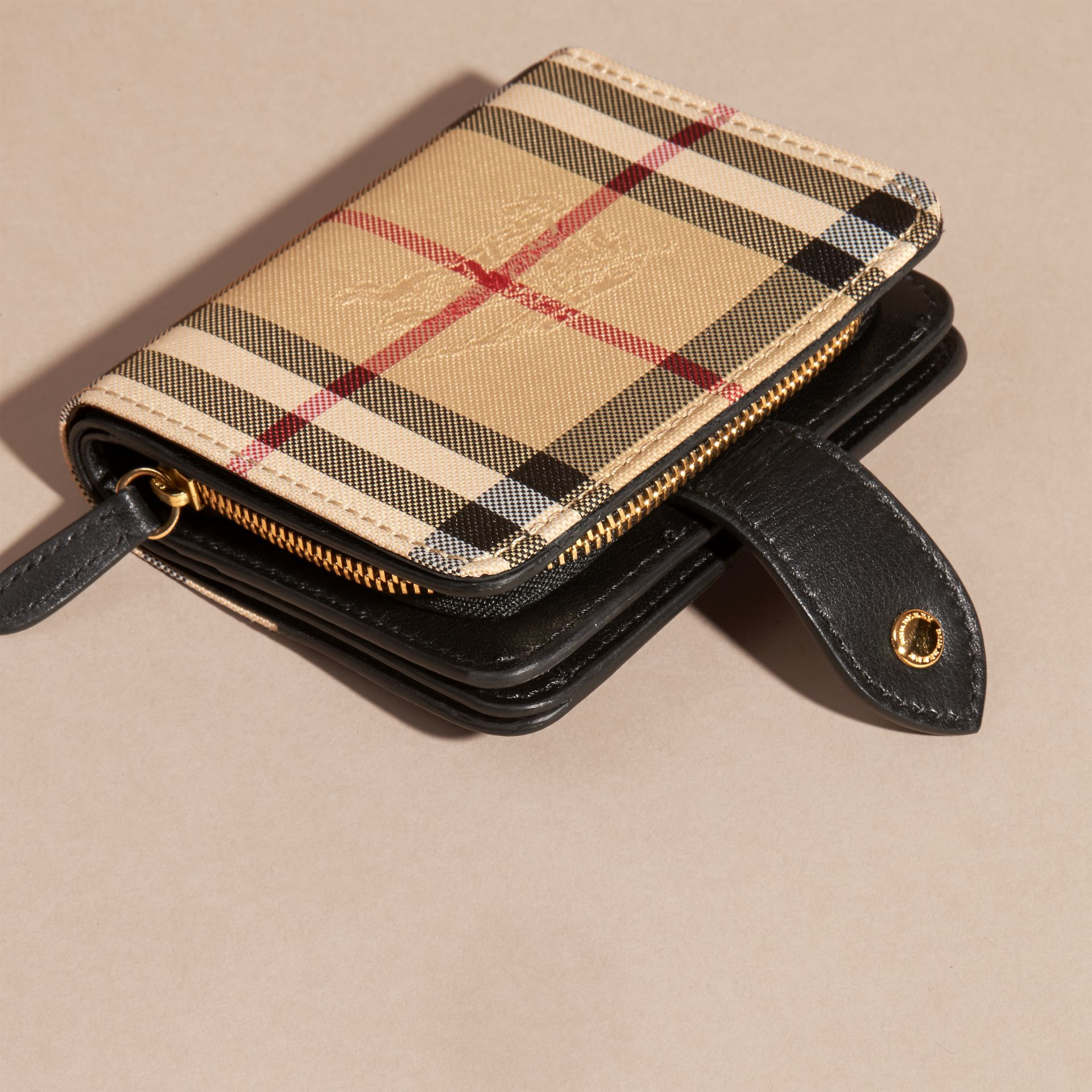 Black Horseferry Check and Leather Wallet Black - gallery image 4