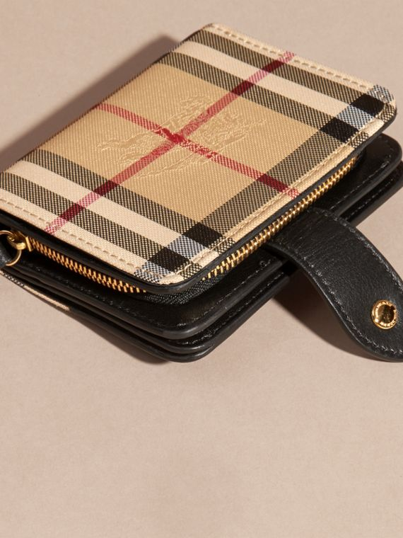 Black Horseferry Check and Leather Wallet Black - cell image 3