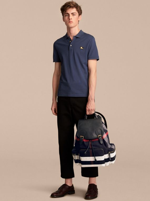 The Large Rucksack in Canvas Check and Leather in Black - Men | Burberry - cell image 2