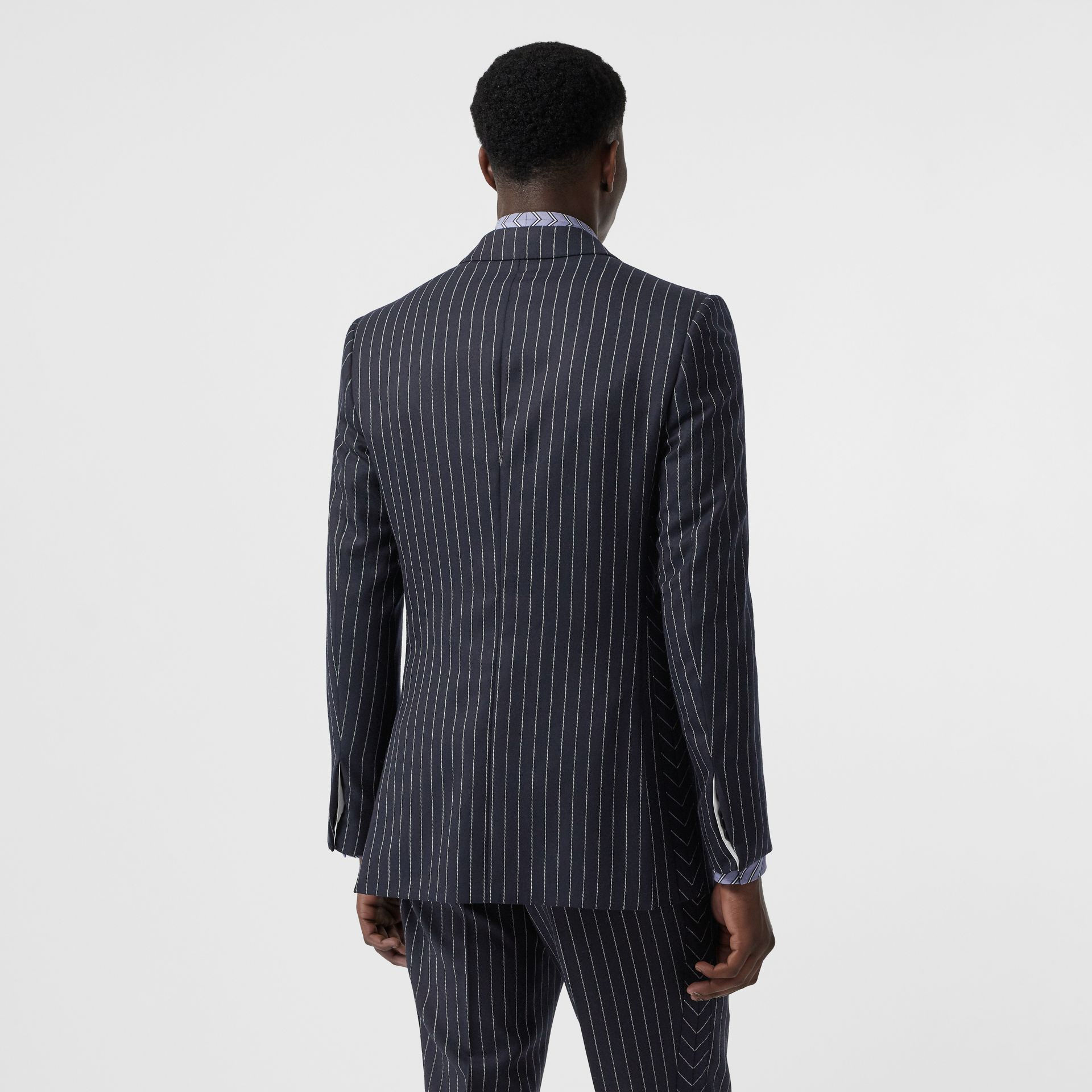 English Fit Pinstriped Wool Tailored Jacket in Dark Navy/white | Burberry United States - gallery image 2