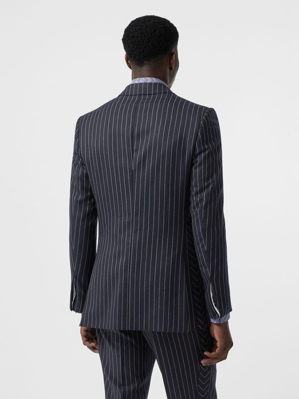English Fit Pinstriped Wool Tailored Jacket in Dark Navy/white | Burberry Australia - cell image 2