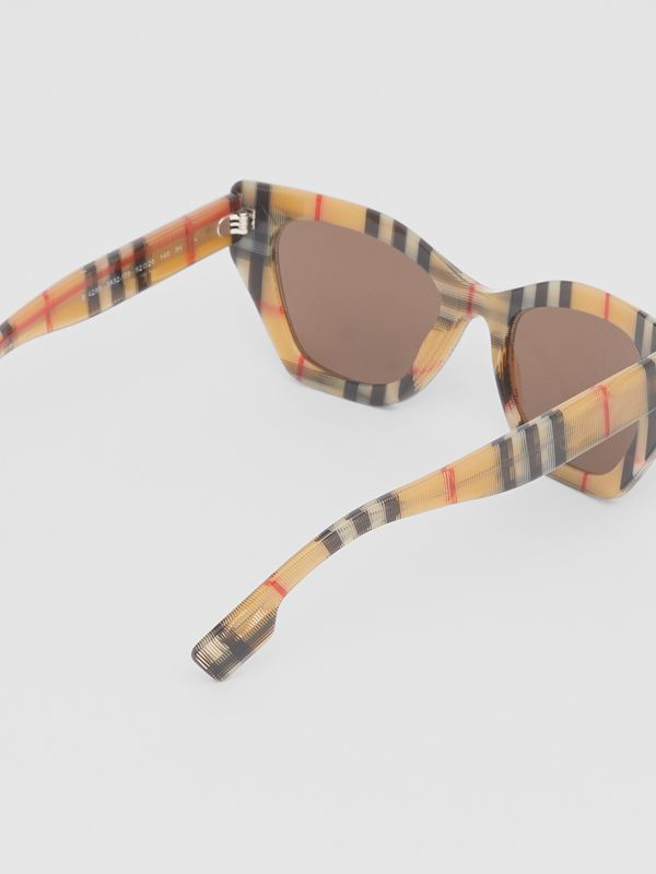 Vintage Check Butterfly Frame Sunglasses in Antique Yellow - Women | Burberry - cell image 3