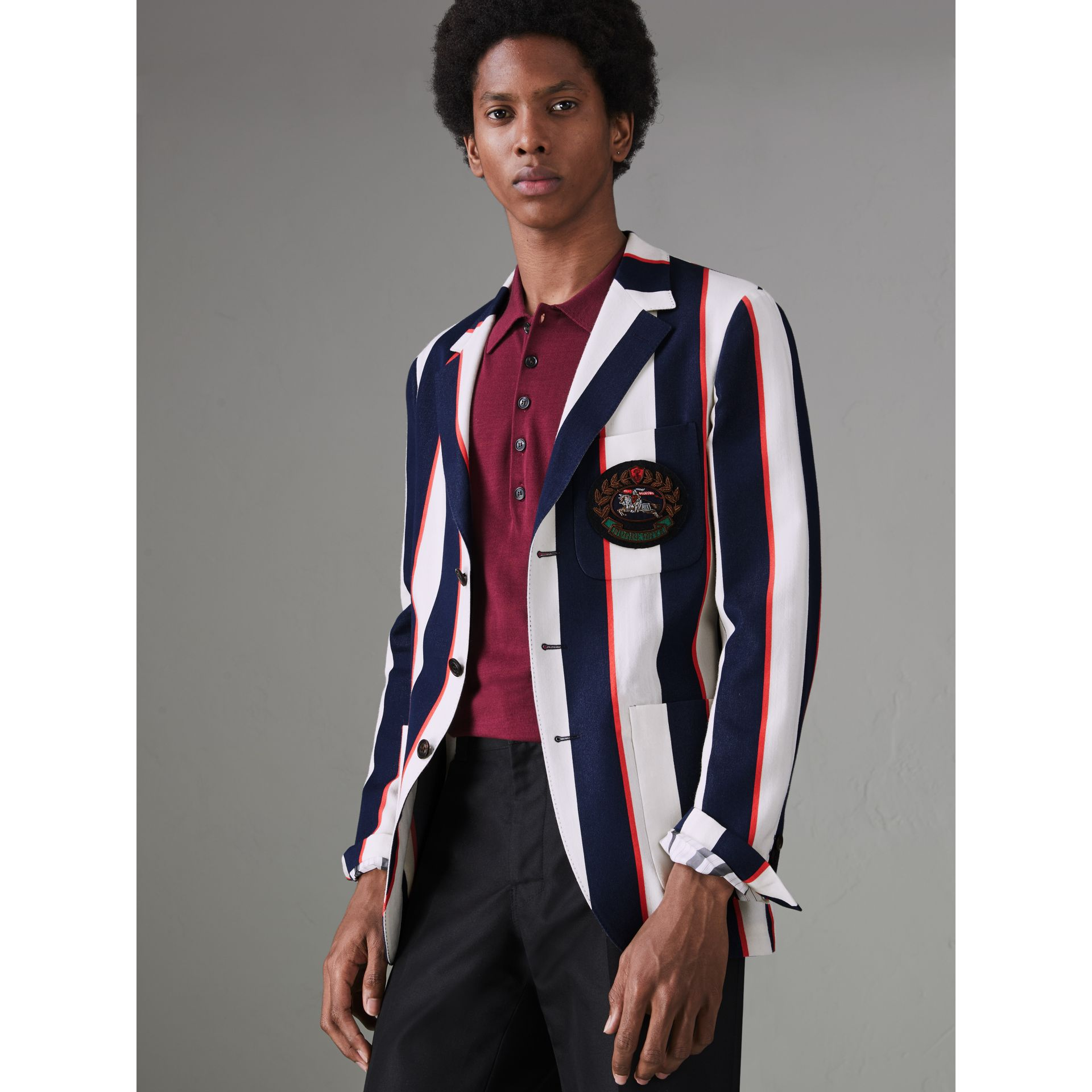 Striped Cotton Blend Club Blazer in Natural White - Men | Burberry United States - gallery image 4