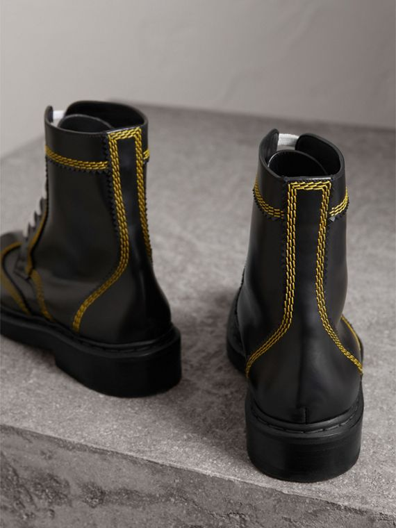 Topstitch Leather Lace-up Boots in Black - Women | Burberry Hong Kong - cell image 3