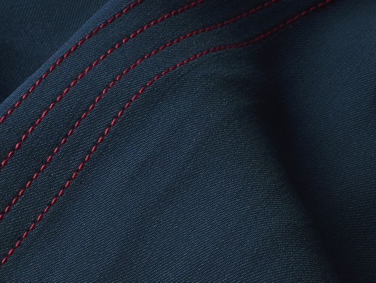 Ink blue Wool Silk Boot-cut Trousers - cell image 1