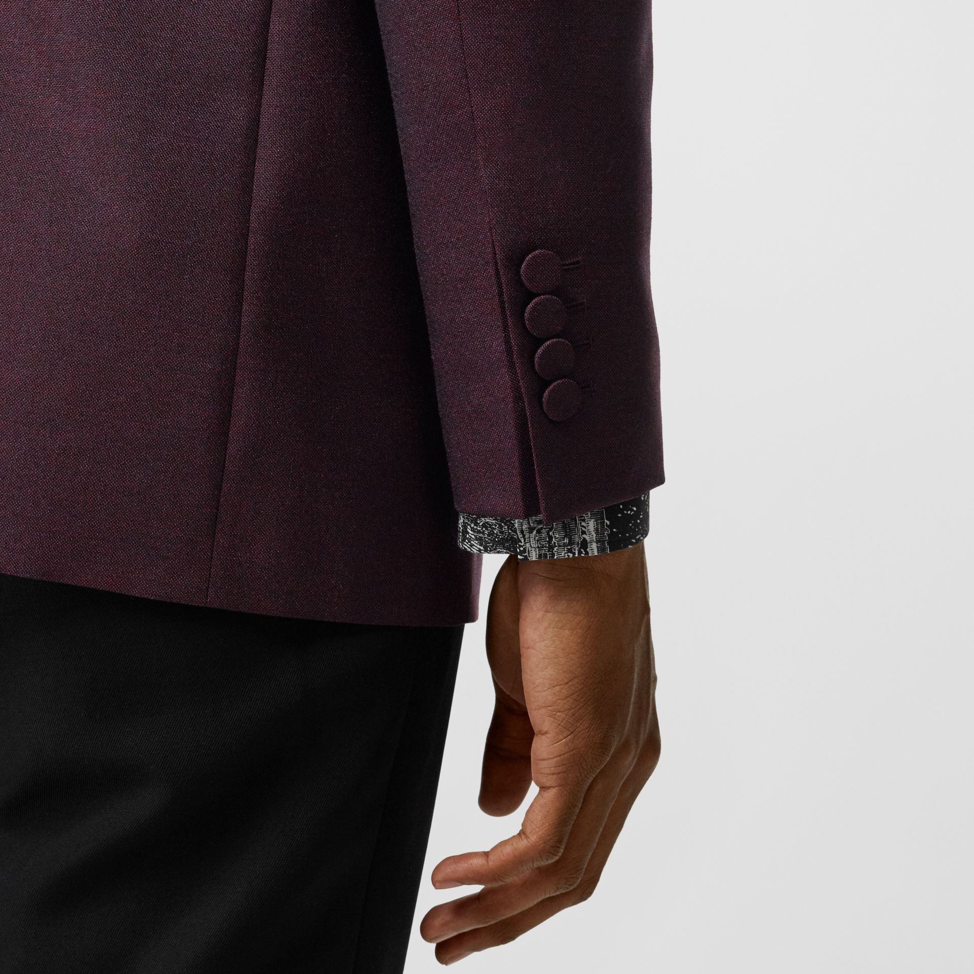 Classic Fit Mohair Evening Jacket in Deep Burgundy - Men | Burberry - gallery image 4