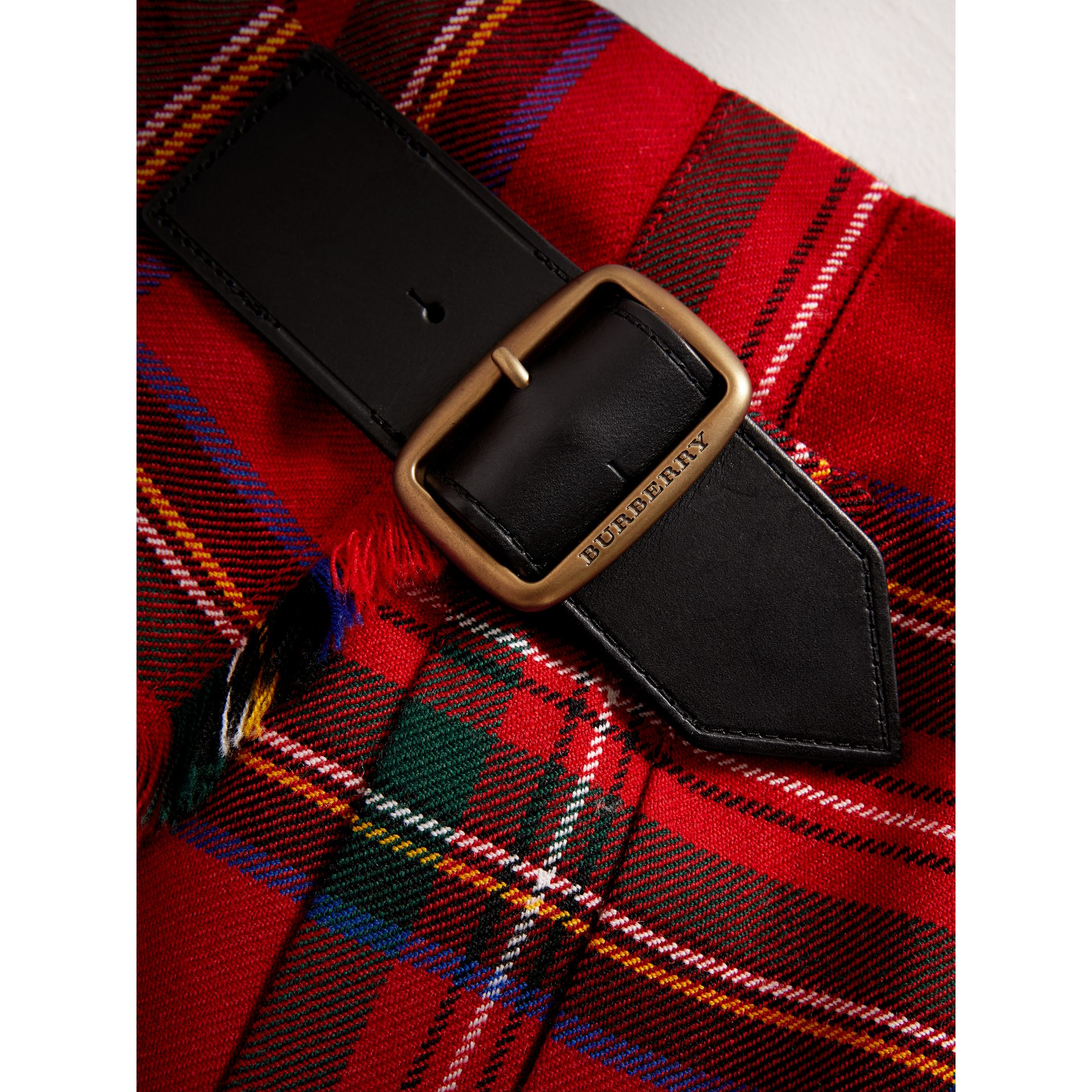 Raw Edge Detail Tartan Wool Kilt in Bright Red - Girl | Burberry - gallery image 2