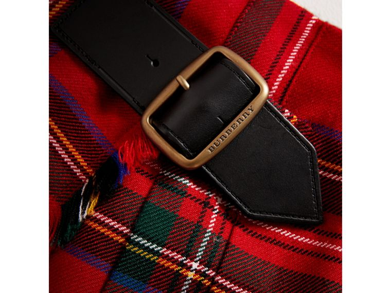 Raw Edge Detail Tartan Wool Kilt in Bright Red - Girl | Burberry - cell image 1