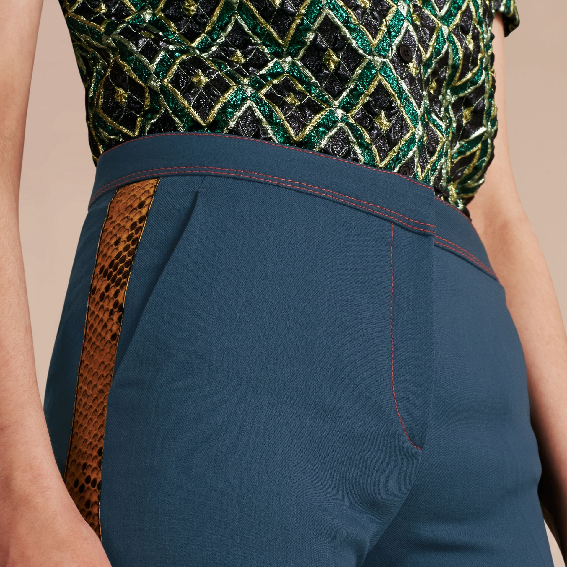 Ink blue Python Print Trim Wool Silk Flared Officer Trousers - gallery image 5