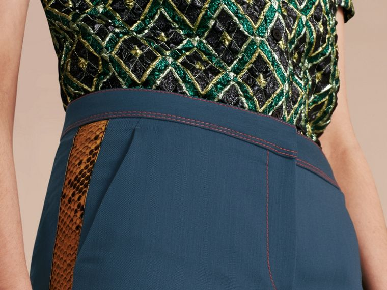 Ink blue Python Print Trim Wool Silk Flared Officer Trousers - cell image 4