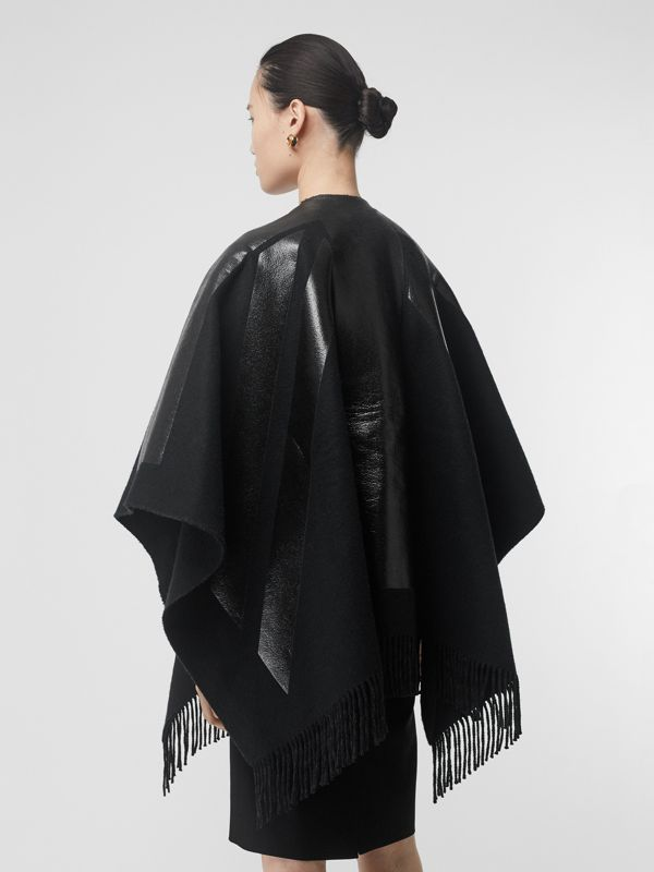 Union Jack Print Wool Cashmere Cape in Black - Women | Burberry - cell image 2