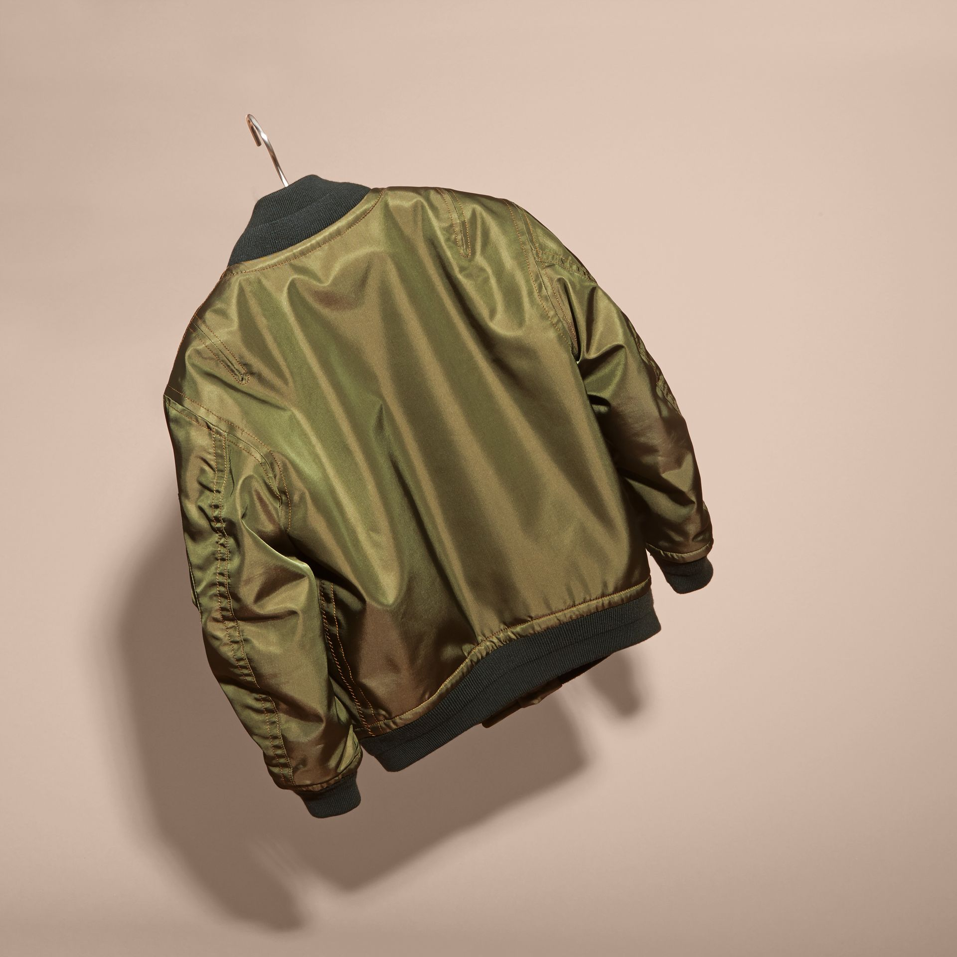 Light military green Leather Trim Bomber Jacket - gallery image 4