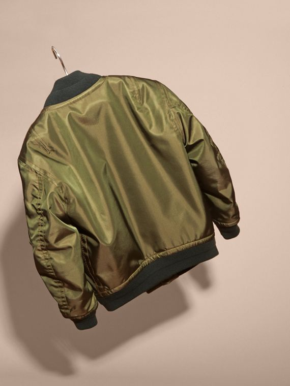 Light military green Leather Trim Bomber Jacket - cell image 3