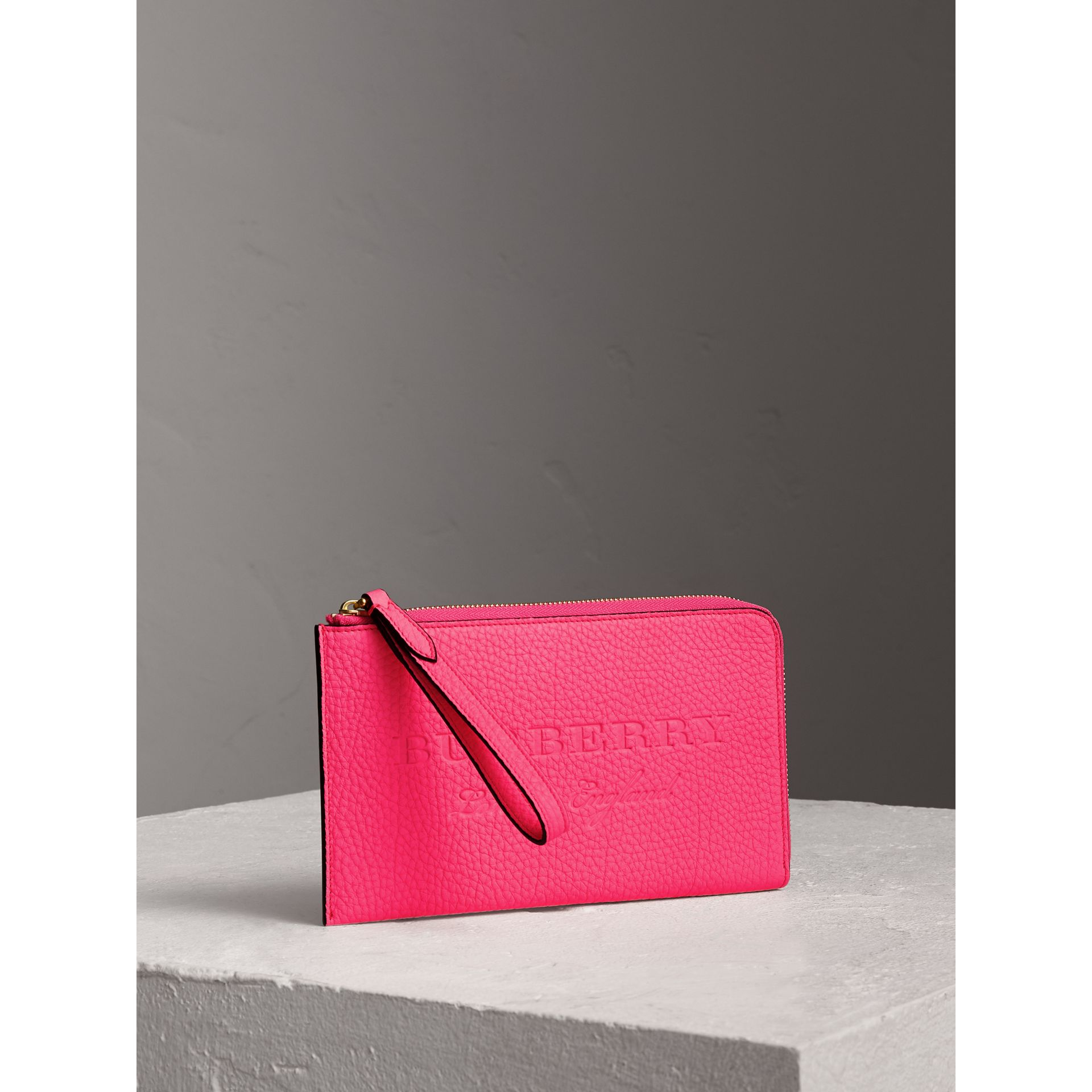 Embossed Neon Leather Travel Wallet in Bright Pink | Burberry - gallery image 4