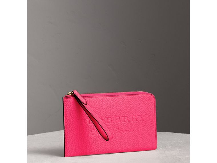 Embossed Neon Leather Travel Wallet in Bright Pink | Burberry - cell image 4